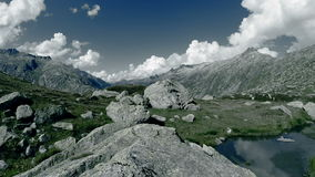 Aerial view of mountain lake nature landscape stock footage