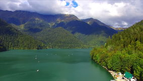 Aerial view on mountain lake Ritsa. Abkhazia, Caucasus stock video