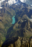Aerial view of a mountain lake in Switzerland Stock Images