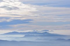 Aerial view of the mountain of Montserrat and Sant Llorenç royalty free stock image