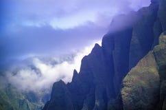 Aerial View of Mountain Range, Kauai, Hawaii Stock Image