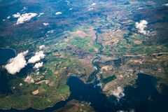 Aerial view of mountain ranges and lake landscape royalty free stock photo