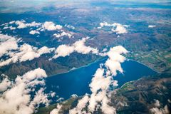 Aerial view of mountain ranges and lake landscape royalty free stock image