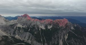 Aerial view of mountain ridge at dawn. stock video
