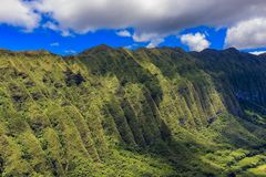 Aerial view of mountain ridge line in Honolulu Hawaii. Aerial view mountain ridge line in Honolulu Hawaii from a helicopter Royalty Free Stock Photography