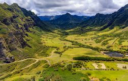 Aerial view of mountains and a valley in Oahu Hawaii Royalty Free Stock Photography