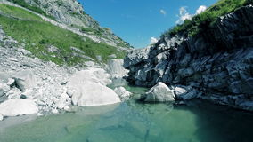 Aerial view of mountain river nature landscape stones rocks background stock video footage