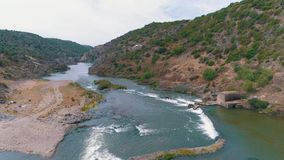 Aerial View of the Mountain River stock video footage