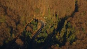 Aerial view of the mountain road. At sunrise stock video