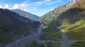 Aerial view of mountain and Terek river stock footage