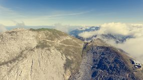 Aerial view of mountain top with cabin. Stol in Karavanke, Slovenia stock image