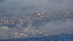 Aerial view of mountain village in winter Royalty Free Stock Image