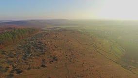 Aerial view of mountainous terrain stock video