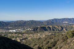 Aerial view of the Mountains and Altadena area. At Los Angeles, California royalty free stock photography