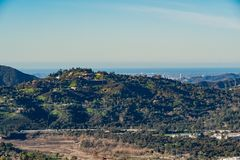 Aerial view of the Mountains and Altadena area. At Los Angeles, California royalty free stock image