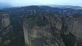 Aerial view of the mountains in the area of Meteora, Greece stock video footage
