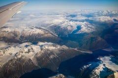 Aerial view of mountains around town of King Salmon, Alaska stock photos