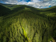 Aerial view of mountains stock photos