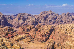 Aerial view on mountains desert in Petra Stock Photos