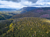 Aerial view of mountains and forest near Highland Lakes Road, Li Stock Photos