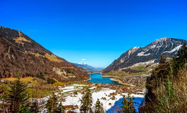 Aerial view of mountains lake Lungernersee, Lungern Royalty Free Stock Photography