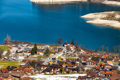 Aerial view of mountains lake Lungernersee, Lungern Stock Photos