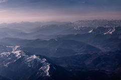 Aerial view of the mountains in Montenegro covered with snow Stock Photography