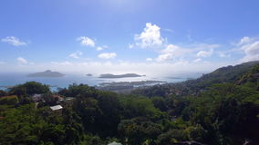 Aerial View Of Mountains And Ocean from Sans Souci Viewpoint, Seychelles 2 stock video footage