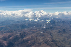 Aerial view of the mountains of Peru Royalty Free Stock Photos