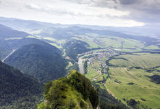 Aerial view of mountains, rivers, fields and meadows Royalty Free Stock Photo