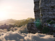 Aerial view mountains with rock and chair concept photo Royalty Free Stock Photography