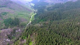 Aerial view of mountains valley. Beautiful aerial view of mountains valley stock video