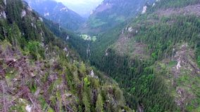 Aerial view of mountains valley. Beautiful aerial view of mountains valley stock video footage