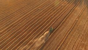Aerial view of moving harvester. Trail of dust behind machine. Big farm has rich crops. Provide food for entire country stock footage