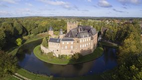 Aerial view on the huis Bergh Castle stock photography