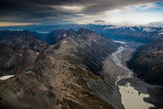Aerial view of mt. cook national park Stock Image