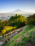 Aerial view of mt.Fuji, Fujiyoshida, Japan Stock Photos