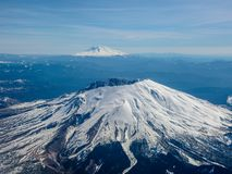 Aerial view on Mt St Helens with Mt Adams in the background stock photo