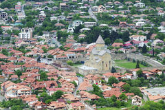 Aerial view of Mtskheta city, former capital of Georgia. Aerial view of Mtskheta city, old capital of Georgia, with famous Svetitskhoveli Cathedral. It is the Stock Images