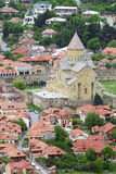 Aerial view of Mtskheta city, former capital of Georgia Royalty Free Stock Image