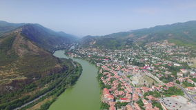 Aerial view of Mtskheta stock video footage