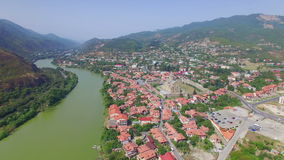 Aerial view of Mtskheta, Georgia stock video