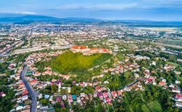 Aerial view of Mukachevo with the Palanok Castle in Ukraine Stock Photos