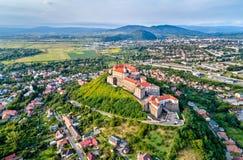 Aerial view of Mukachevo with the Palanok Castle in Ukraine Stock Photo