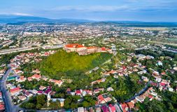 Aerial view of Mukachevo with the Palanok Castle in Ukraine Royalty Free Stock Photo
