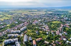 Aerial view of Mukachevo town in Transcarpathia, Ukraine Stock Photo