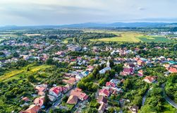Aerial view of Mukachevo town in Transcarpathia, Ukraine Stock Image