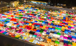Aerial view with multi colour umbrella night market Stock Photo