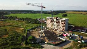 Aerial view of multi-storey building construction stock footage
