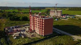 Aerial view of multi-storey building construction stock video footage